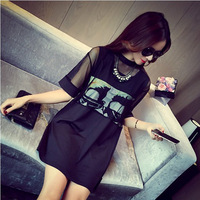 2017 new fashion large size women organza dress fat mm thin section cool summer long section of loose fake two-piece dress 368