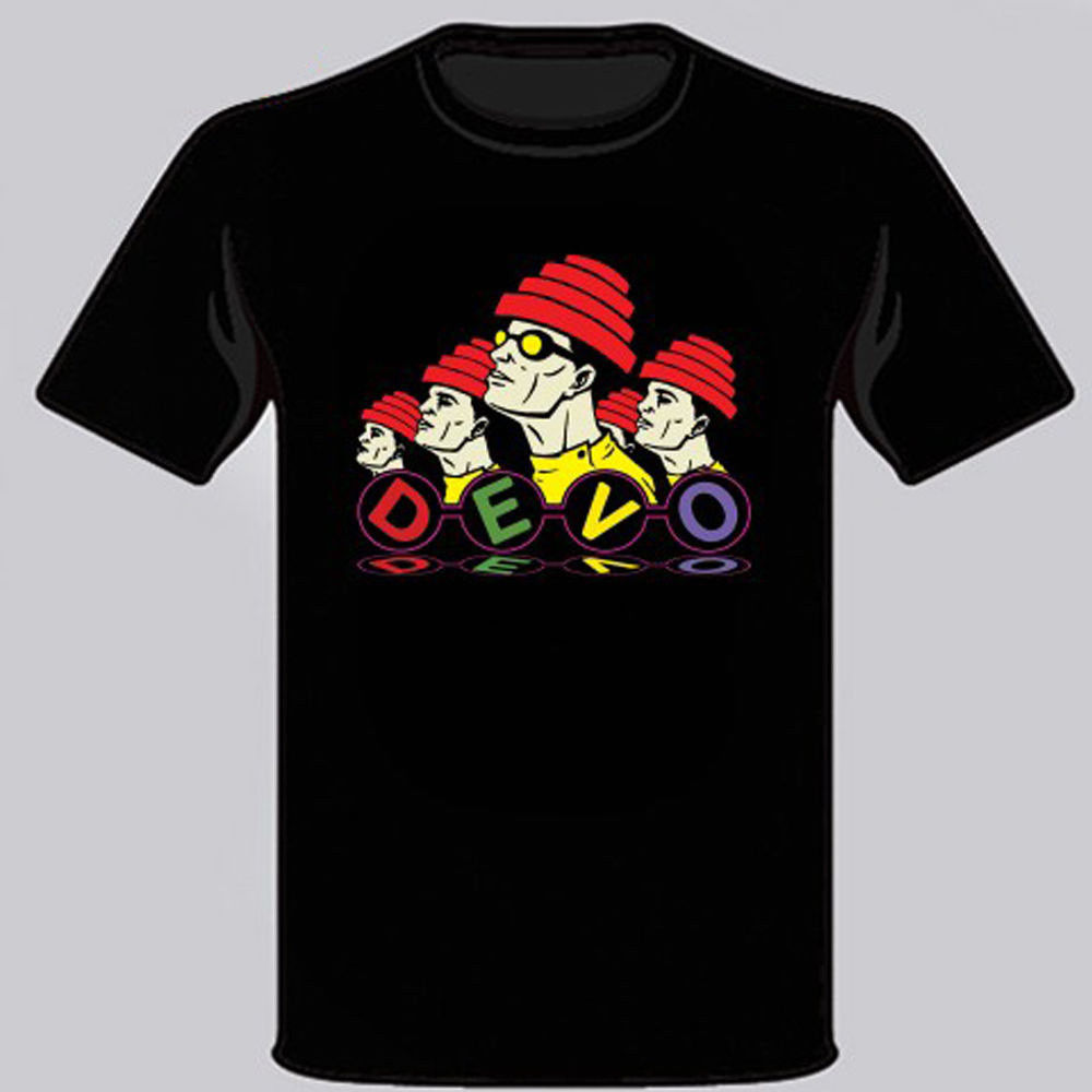 DEVO American Electronic Rock Band Mens Black T-Shirt S M L XL free shipping