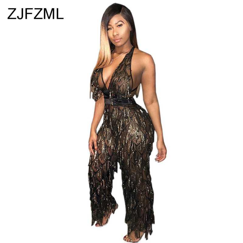 72a86ef5ca3f Sequins Tassels Mesh Sexy Overalls For Women Deep V Neck Backless Wide Leg  Pant Jumpsuit Elegant