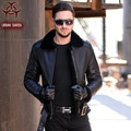 2017 New Men Genuine Cowskin Leather Fur Coat Think Black Belt Slim Fit Large Size XXXL Male Winter Warm Coat  FREE SHIPPING