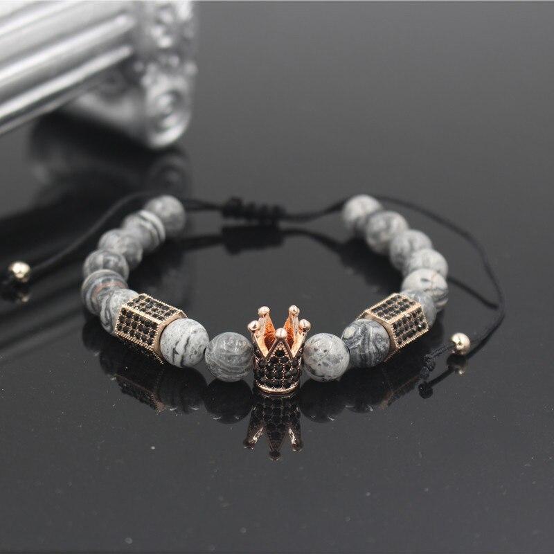 PINIYA 8MM Marble Stone Bead Rose Gold Color Micro Pave Black CZ Crown & Hexagonal Charm Braiding Men Women Macrame Bracelet