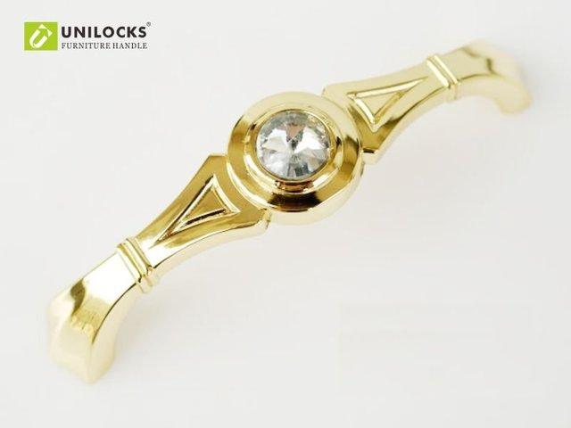 UNILOCKS 10Pcs  C.C.. 96 MM Clear Crystal Handle With Zinc Alloy Gold Metal Part