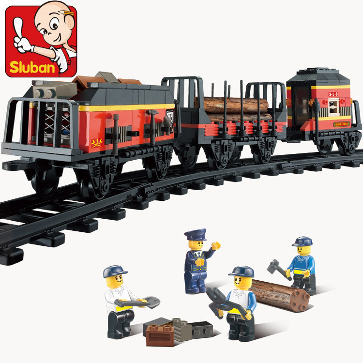 Little Luban 0232 building blocks century Railway Station freight new trunk childrens assembly puzzle toy compatible assembly