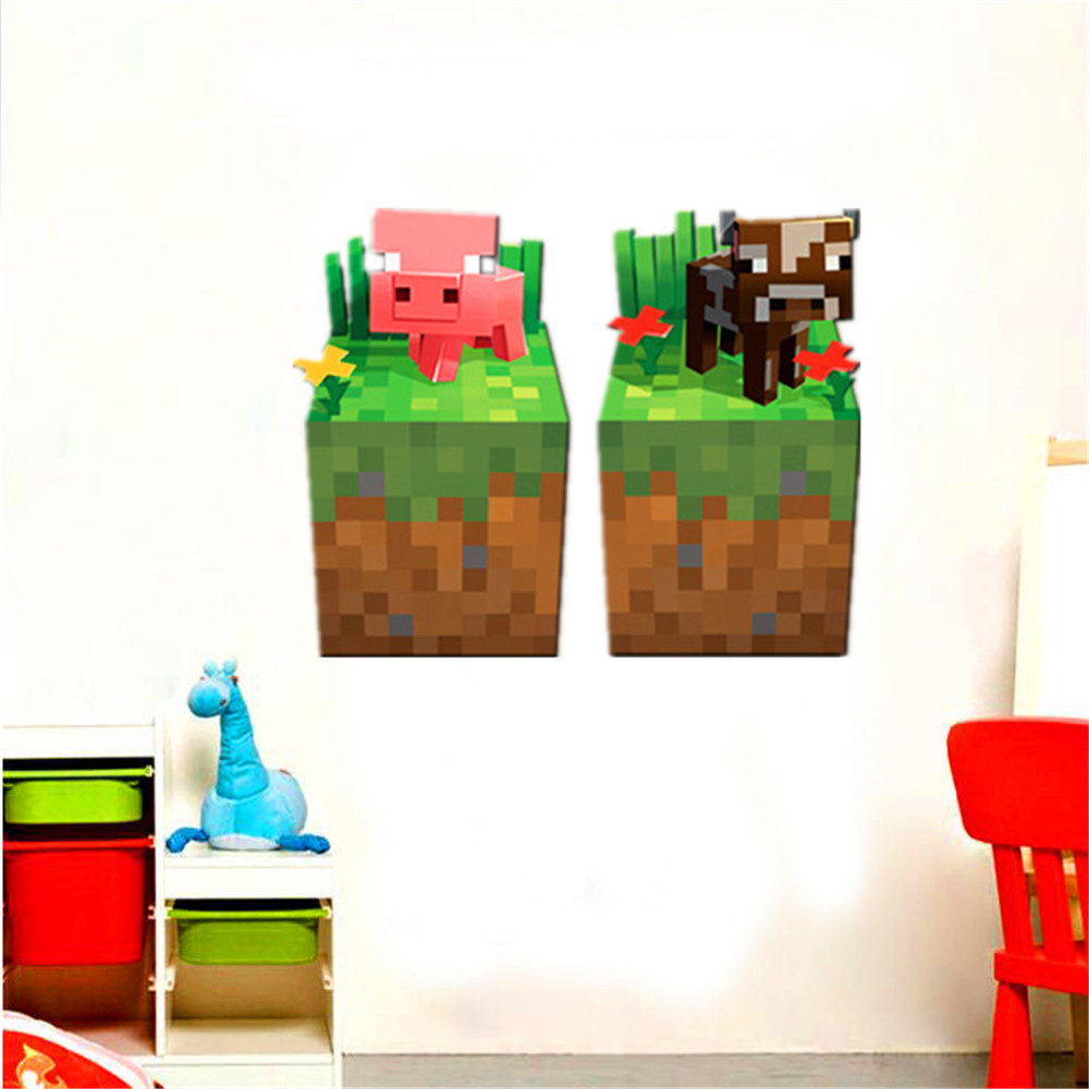 Cartoon classic game minecraft for kids room wall sticker; pigs and ...