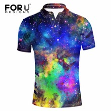 FORUDESIGNS Brands Men Polo Homme Slim Cool Galaxy Space Printing Summer Short Sleeve Mercerized Cotton Camisa Shirt
