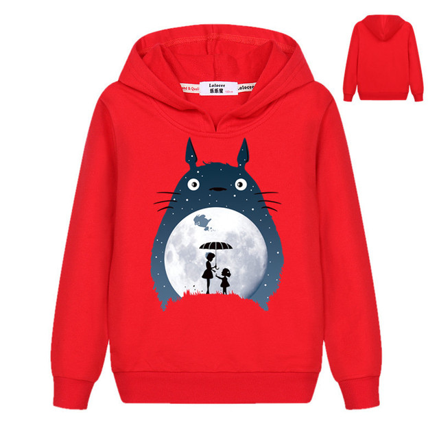 6 cores New Outono Crianças Hoodies Camisolas Harajuku Desenhos Animados do Kawaii Totoro Impressão Moletom Pulôveres Finas para Meninos Das Meninas