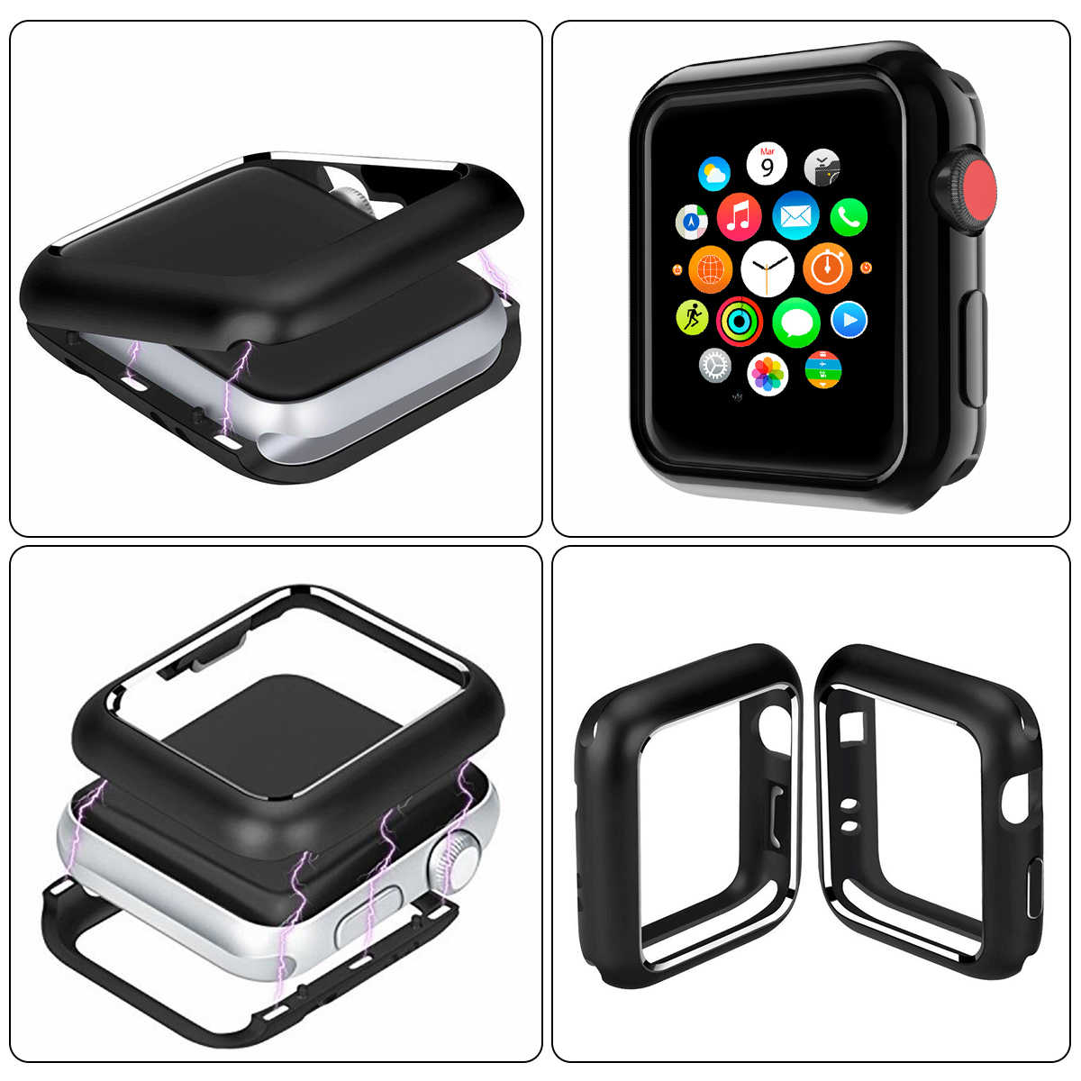 huge discount 4cb3a 169f2 Magnetic Adsorption Bumper Case for Apple Watch Series 4 3 2 1 38 42 40 44  mm Universal Aluminum Frame Magnet Watch Cover Bumper