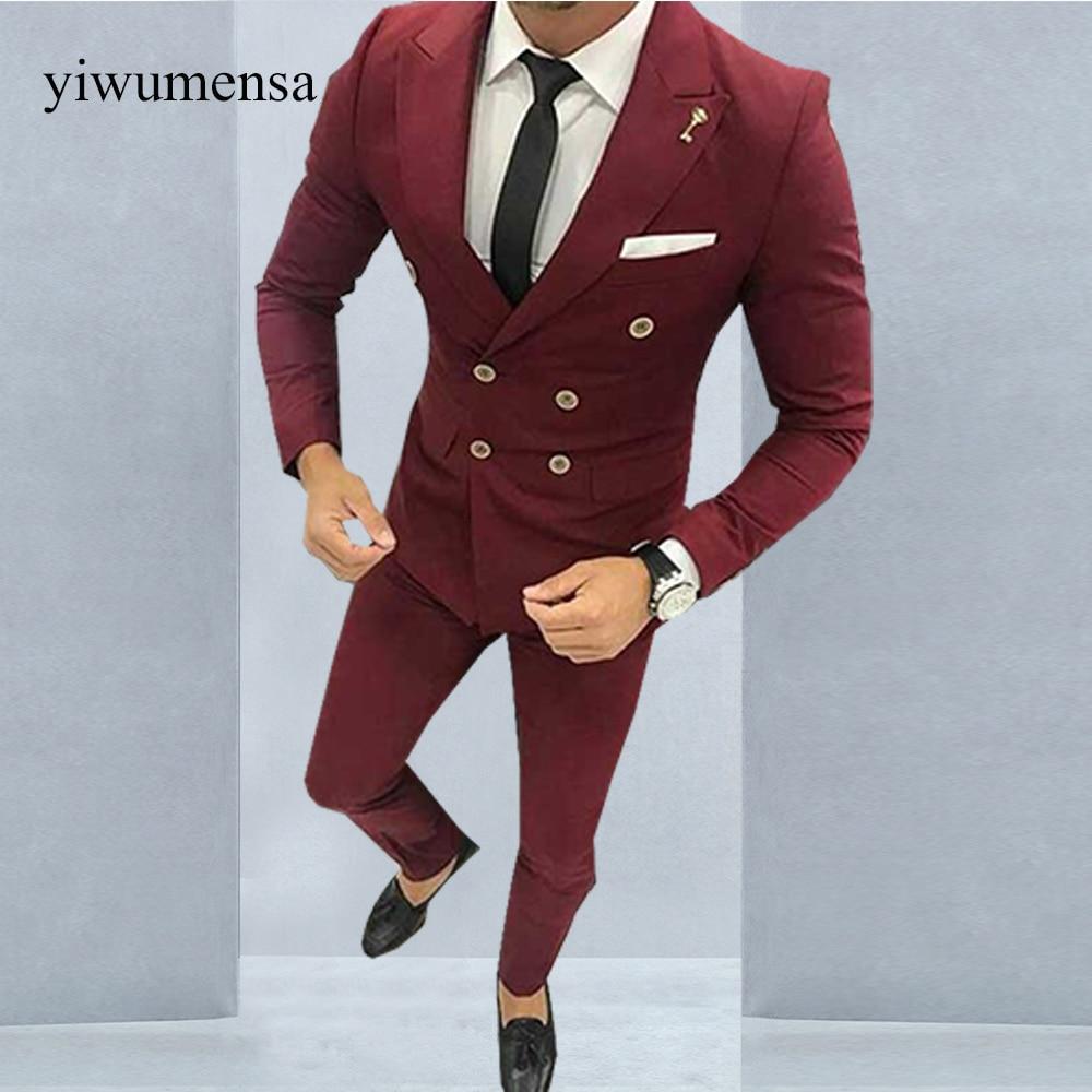 YWMS 21 Latest Coat Pant Designs Burgundy Men Suit Double Breasted ...
