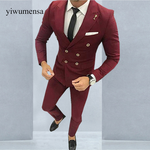 515c575805 YWMS-21 Latest Coat Pant Designs Burgundy Men Suit Double Breasted Jacket  Slim Fit 2 Piece Tuxedo Custom Groom Blazer Prom Suit