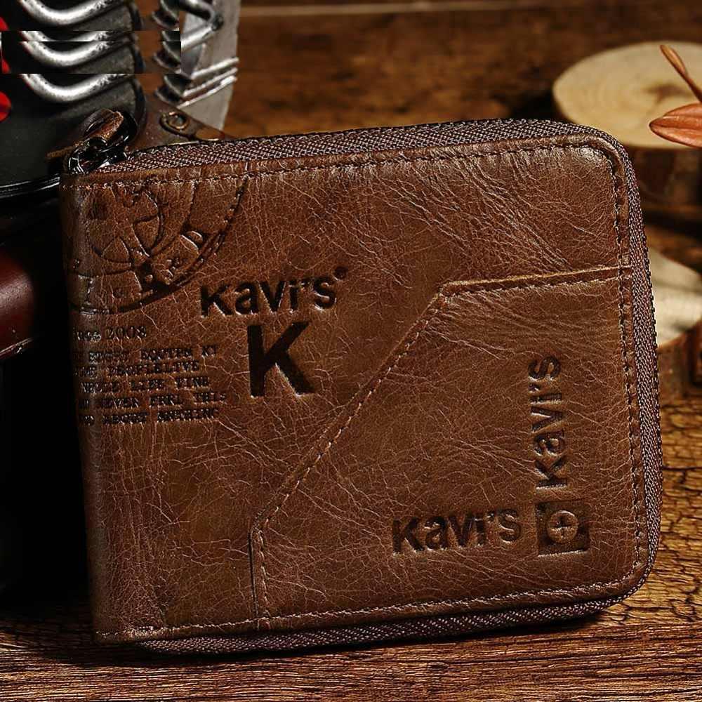 Mini Cartera de cuero de vaca Color café hombres tarjetas de crédito titular pequeña billetera monedero hombre Vintage Walet 2019 famoso marca