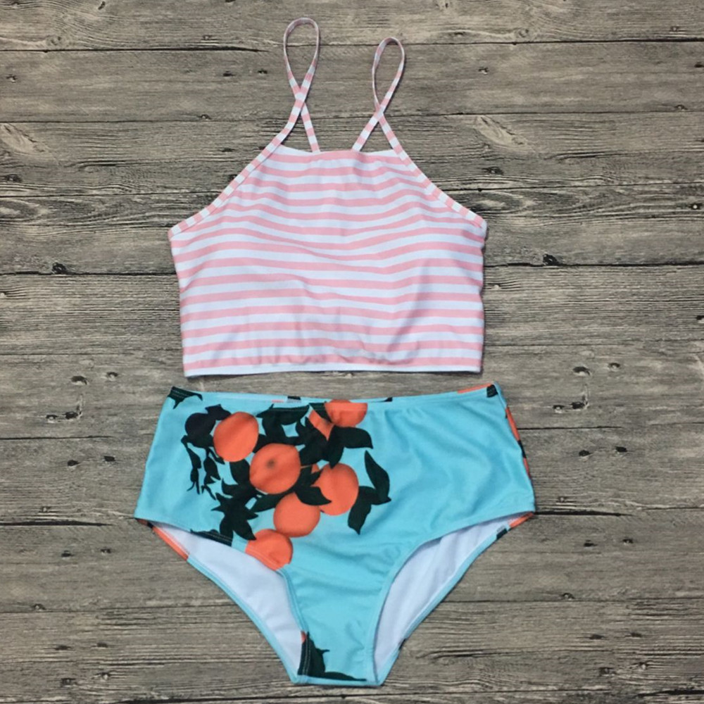 Funfeliz High Waist Bikinis Bandeau Bikini Swimsuit for Women Striped Bandage Sexy Floral Print