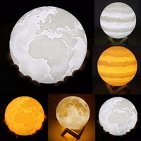 Nosii 8CM 10CM 15CM Rechargeable 3D Print Moon Earth Jupiter Lamp Double Color Night Light Touch