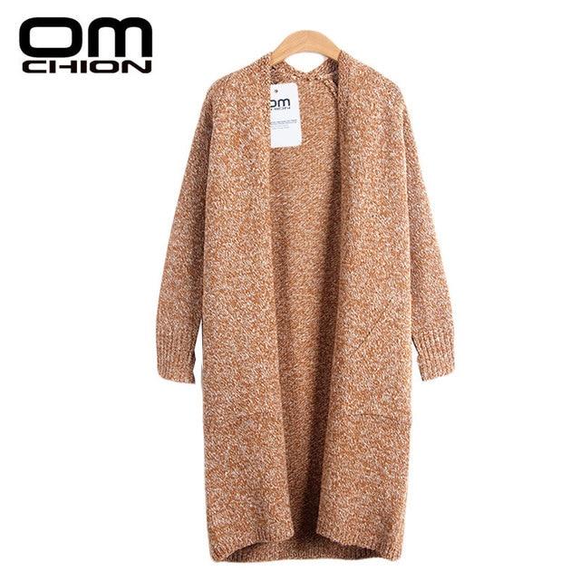 2016 New Fashion Sweater Mujer Women Coat Autumn Winter Loose Long Sleeve V-Neck Knitted Cashmere Cardigan Femme Shrug WKS32