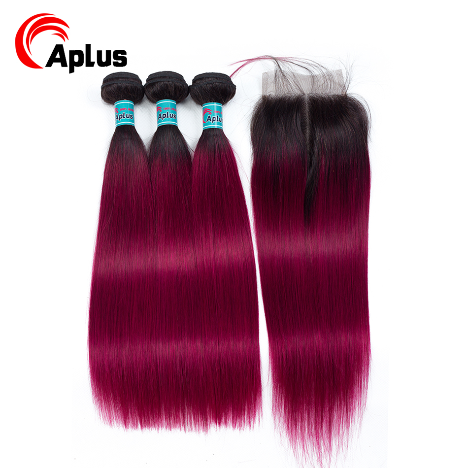 Burgundy Bundles With Closure Aplus Professional 1B/BURG Human Hair Peruvian Straight Ombre Hair 3 Bundles With Closure Non Remy