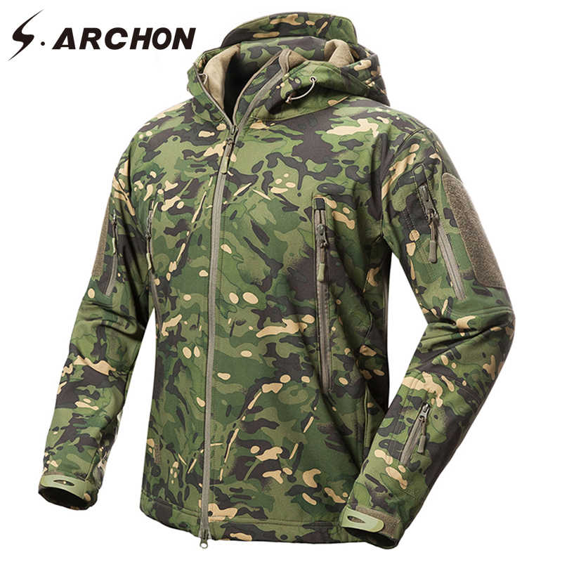 S. Archon Nieuwe Soft Shell Militaire Camouflage Jassen Mannen Hooded Waterdichte Tactische Fleece Jas Winter Warm Army Bovenkleding Jas