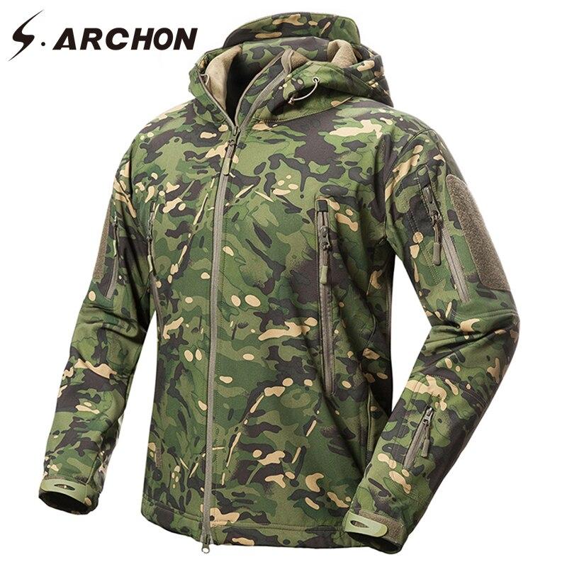 S. ARCHON Neue Soft Shell Military Camouflage Jacken Männer Mit Kapuze Wasserdichte Taktische Fleece Jacke Winter Warme Armee Oberbekleidung Mantel