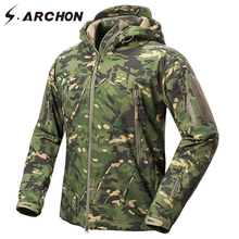 S.ARCHON New Soft Shell Military Camouflage Jackets Men Hooded Waterproof Tactical Fleece Jacket Winter Warm Army Outerwear Coat