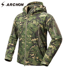 S.ARCHON New Soft Shell Military Camouflage Jackets Men Hooded Waterproof Tactical Fleece Jacket Winter Warm Army Outerwear Coat(China)