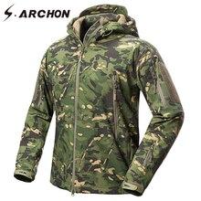 S.ARCHON yeni yumuşak kabuk askeri kamuflaj ceketler erkek kapüşonlu su geçirmez taktik polar ceket kış sıcak ordu giyim ceket