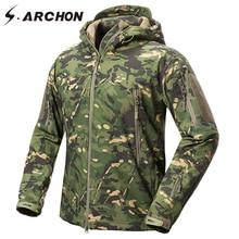 S.ARCHON جديد لينة شل العسكرية التمويه السترات الرجال مقنعين مقاوم للماء التكتيكية جاكيت من الصوف الشتاء الدافئة الجيش ملابس خارجية معطف