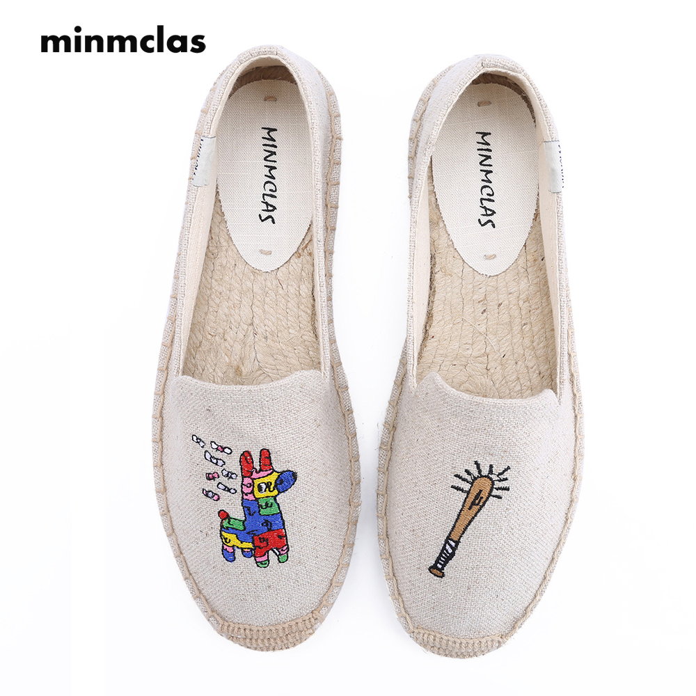 Minmclas Embroider Alpargatas Horse Comfortable Slip-on Womens Casual Espadrilles Breathable Flax Hemp Canvas for Girl Shoes