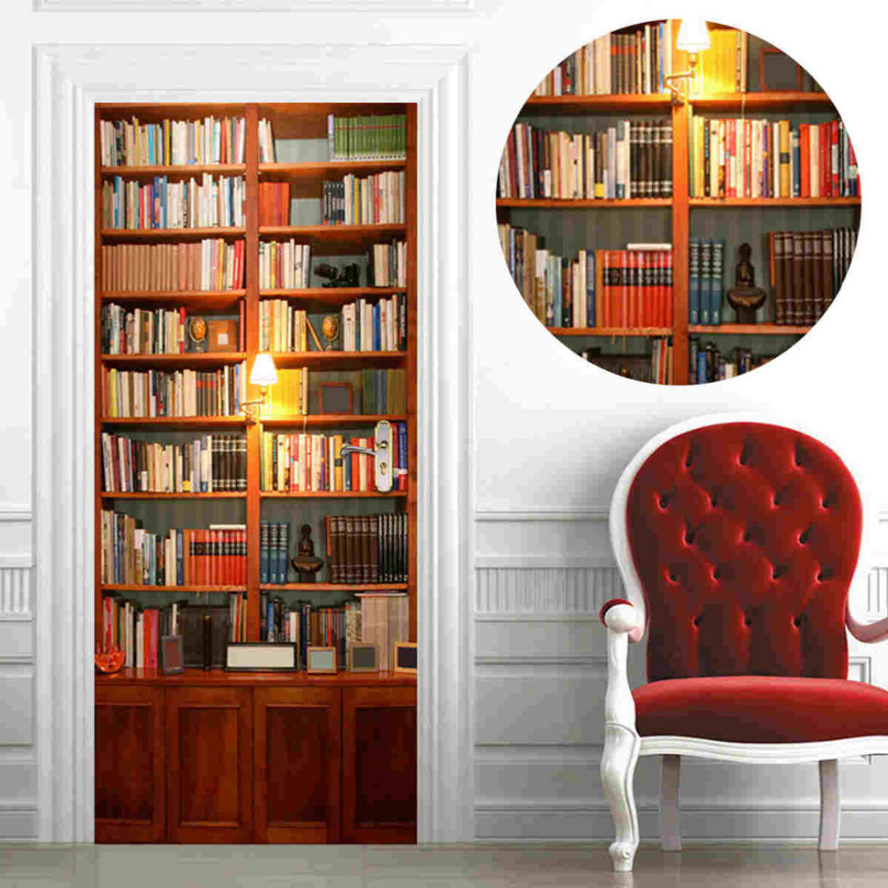 Adhesive 3d door wall sticker mural bookcase wall paper for Bookcase wall mural