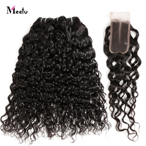 Malaysian Water Wave Hair With Closure Meetu Human Hair Bundles With Closure Natural Hair Extensions With Lace Closure Non Remy