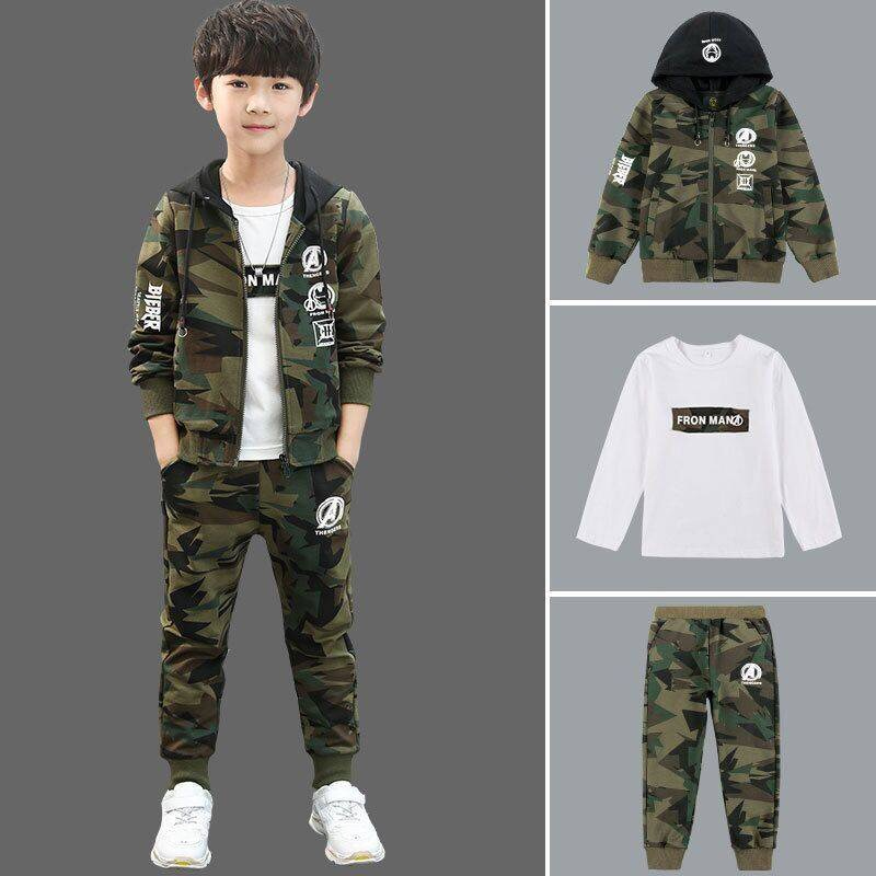 Automne garçon vêtements ensemble 5-16 ans mode enfants en plein air Camouflage vêtements printemps T-shirt pantalon veste trois pièces