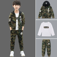 Autumn Boy Clothing Set 5 16 Yrs Fashion Children Outdoor Camouflage Clothes Spring T shirt Pants Jacket Three Pieces
