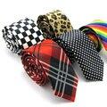 Envío Libre 5 cm Hombres de la Tela Escocesa Dot Rainbow Leopard Impresión Lazo Formal Ocio Flaco Delgado Estrecho Flecha Corbata Impresa Partido marca
