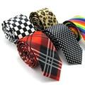 Free Shipping 5cm Men Plaid Dot Leopard Rainbow Printing Formal Tie Leisure Slim Narrow Arrow Skinny Printed Necktie Party Brand