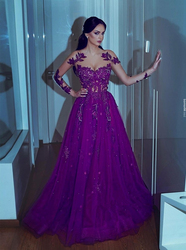 Robe de soriee New Long Evening Dress 2018 V-Neck Long Sleeves Floor Length A-line Appliques Beaded Chiffon Prom Dresses Gowns