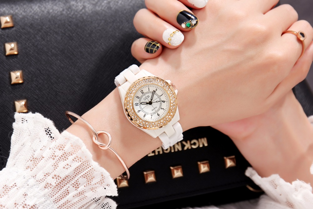 GEDI Fashion White Ceramics Women Watches Top Luxury Brand Ladies - Dameshorloges - Foto 5
