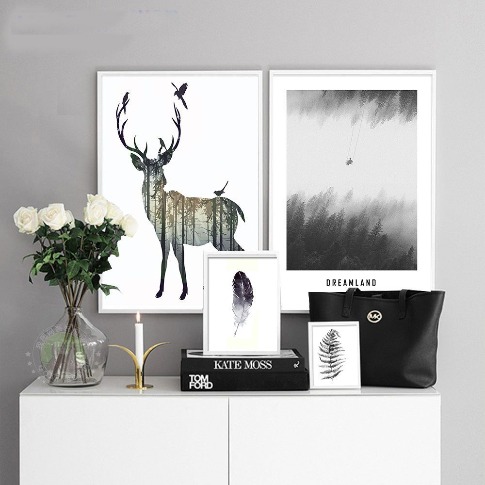 Canvas Elk Deer Printings Wall Poster Art Print Nordic