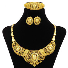 hot deal buy 2018 luxury african new fashion 24k gold women's jewelry sets big necklace ring nigerian wedding party high quality jewelry