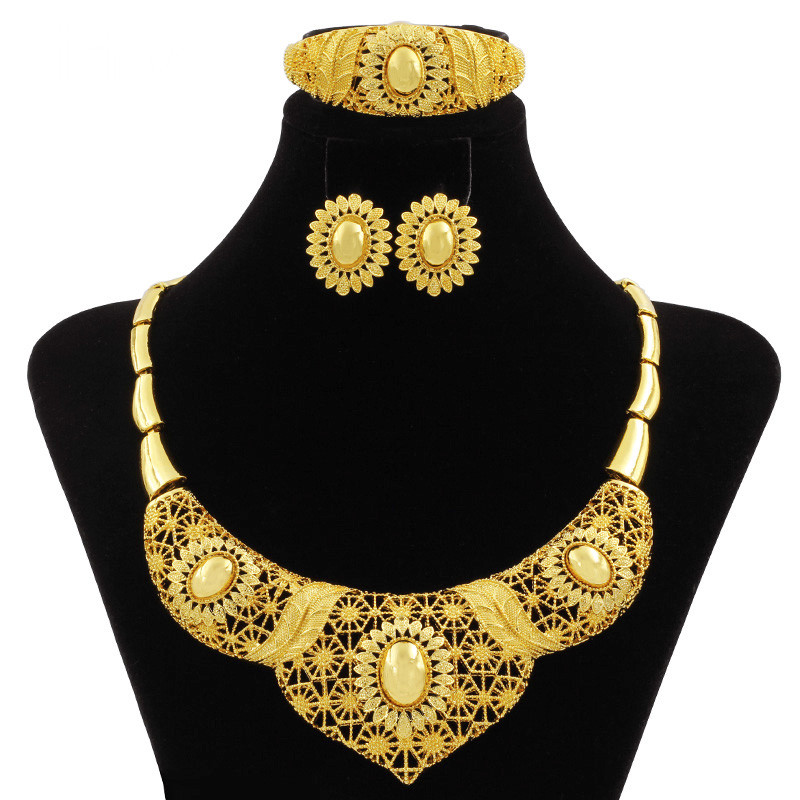 Liffly Luxury African New Fashion 24K Gold Women Jewelry Sets Big Necklace Ring Nigerian Wedding Party High Quality Jewelry