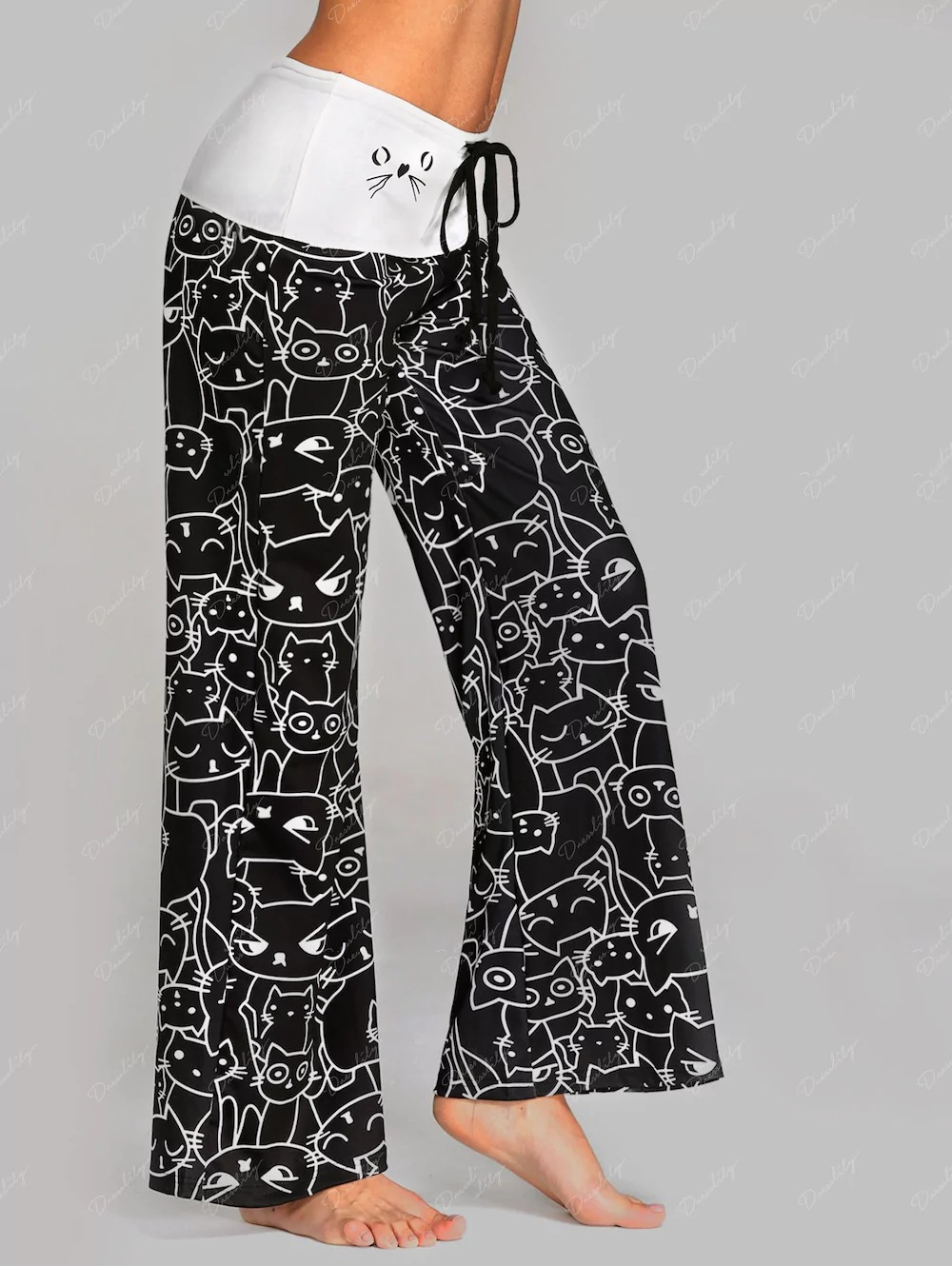 Wontive Hot Hot Sales!! Women's Cat Print   Wide     Leg     Pants   with Home Casual   Pants
