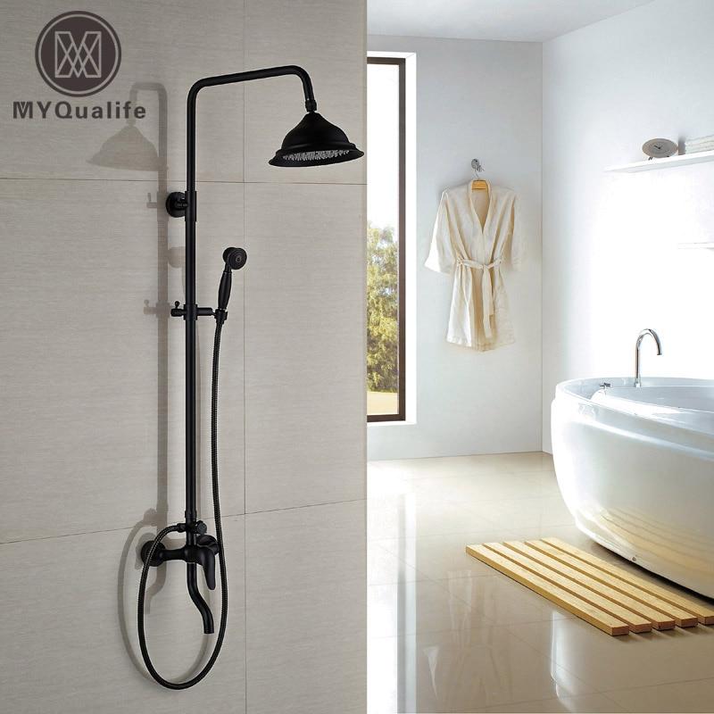 Wall Mount Single Handle Bath Shower Mixer Faucet Brass 8 Rainfall Shower Set Mixers Taps