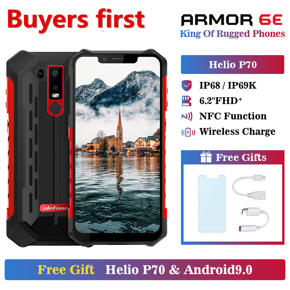 Ulefone Armor 6E Waterproof IP68 NFC Rugged Mobile Phone Helio P70 Otca-core <font><b>Android</b></font> <font><b>9</b></font>.0 <font><b>4GB</b></font>+<font><b>64GB</b></font> wireless charge 4G <font><b>Smartphone</b></font> image