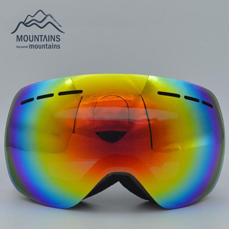 Prix pour Unisexe Adultes Professionnel Sphérique Anti-buée Double Objectif Snowboard Ski Lunettes Lunettes Hommes Femmes Neige Lunettes avec étui à lunettes