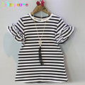 2-6Years/Summer Baby Girls Dresses Casual Stripe Short Sleeves Kids Dress With Necklace Toddler Clothes Children Clothing BC1400