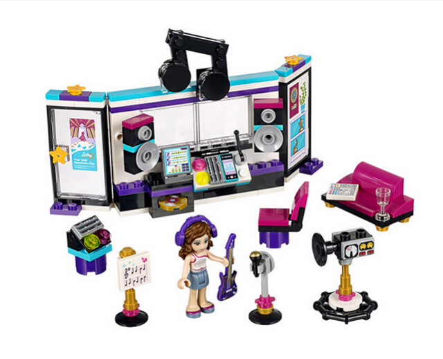 City Friends Pop Star Recording Studio Music Equipment Building Block set figure Brick Toy Compatible with Lego 10403 For Girls