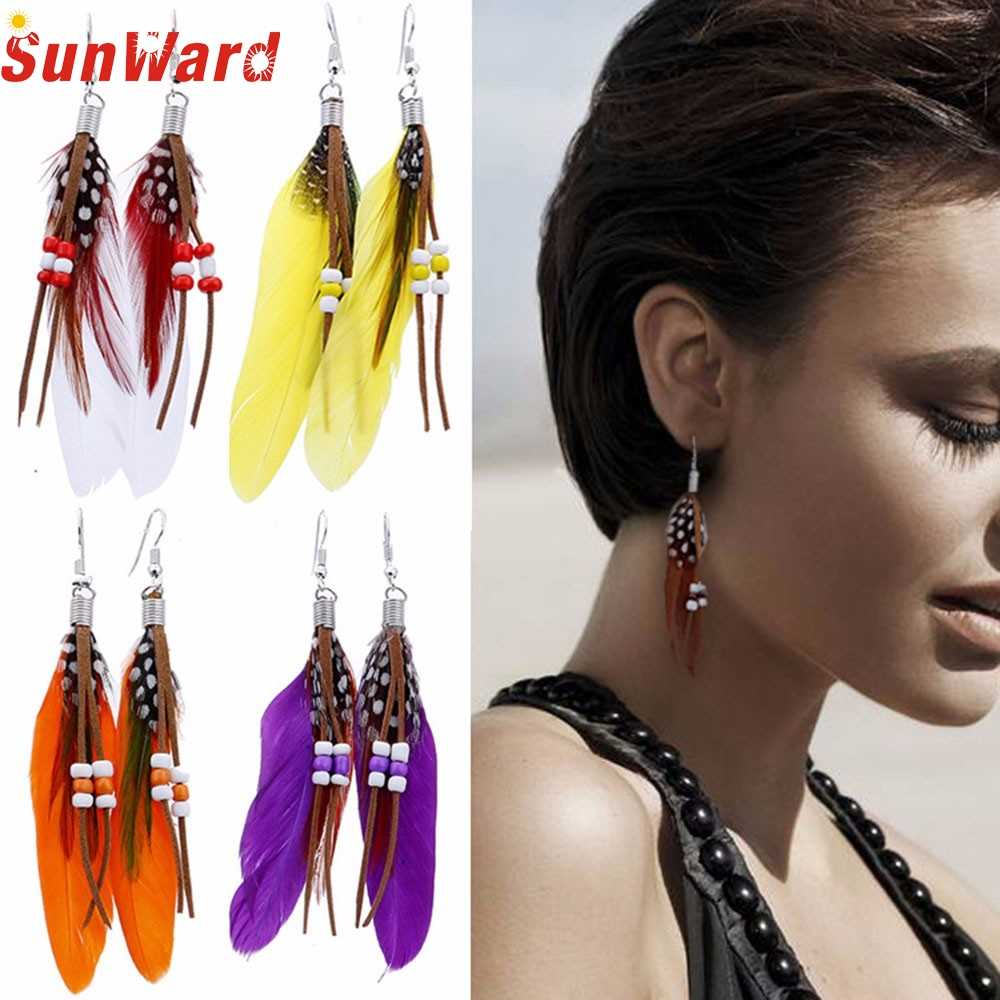 6  New Bohemia Feather Beads Long Design Dream Catcher Earrings for Women JewelryJAN3  P30