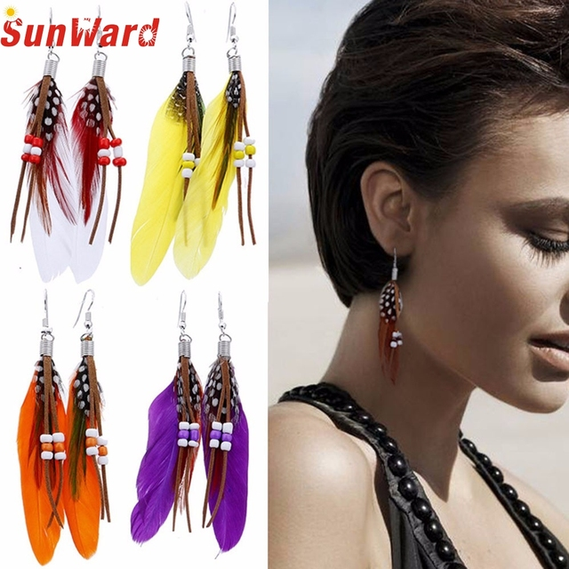 6 New Bohemia Feather Beads Long Design Dream Catcher Earrings for Women Jewelry