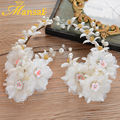 2Pcs Elegant Wedding Bridal White Flower Hairband Handmade Pearl Jewelry Lace Floral Headband Women Hair Ornaments SG280