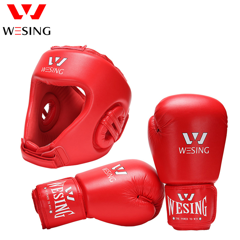 WESING AIBA Approved Boxing Gloves with Boxing Helmets Head Guard for Training Competition Professional Boxing Protective Gears wesing boxing kick pad focus target pad muay thia boxing gloves bandwraps bandage training equipment