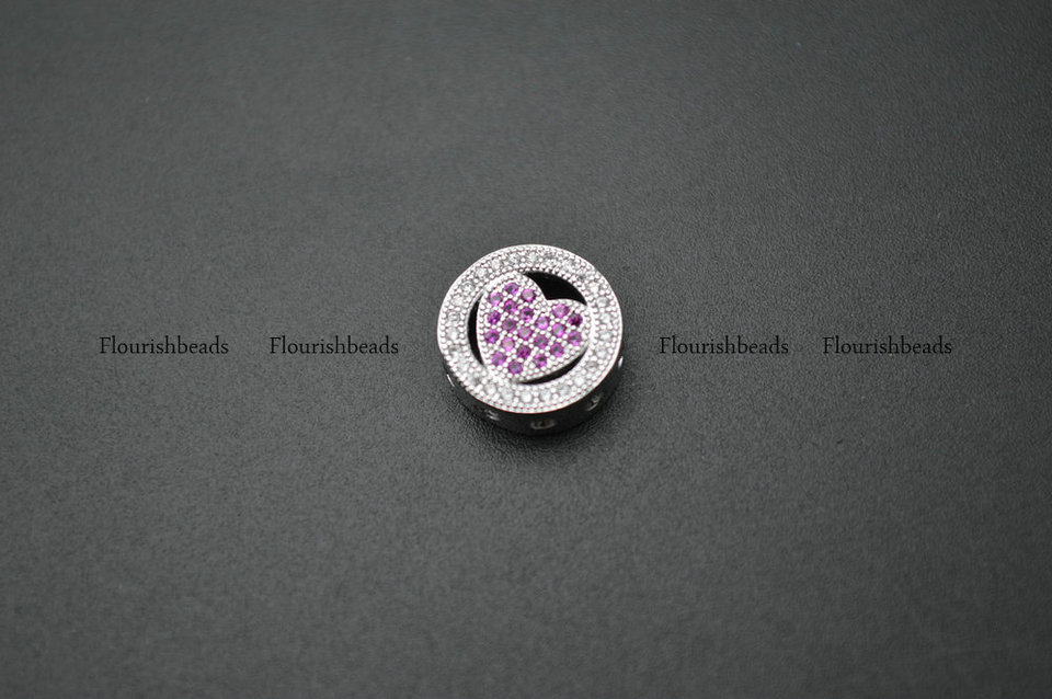 10pc 12mm Multi Color CZ Setting Flat Round Heart Shape Metal Spacer Coin Loose Beads Jewelry Findings