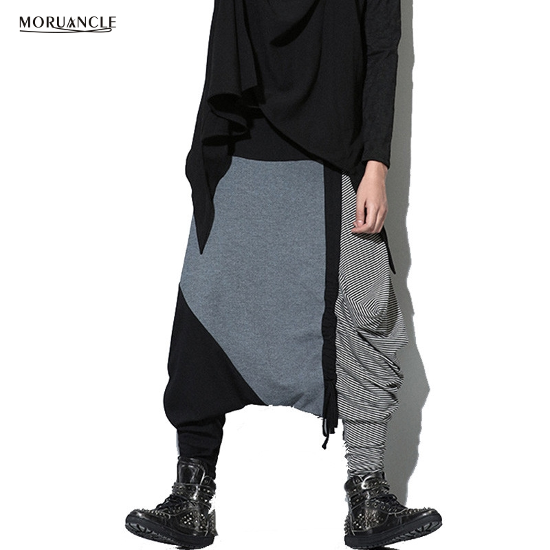 MORUANCLE Mens Drop Crotch Pants Patchwork Stage Street Wear Hip Hop Joggers Fashion Baggy Loose Sweatpants