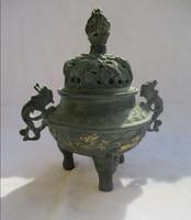 Cinese Old Bronze Gold gilt Intagliato Drago Bruciatore di Incenso/Asian Antiques Metallo censer 0002