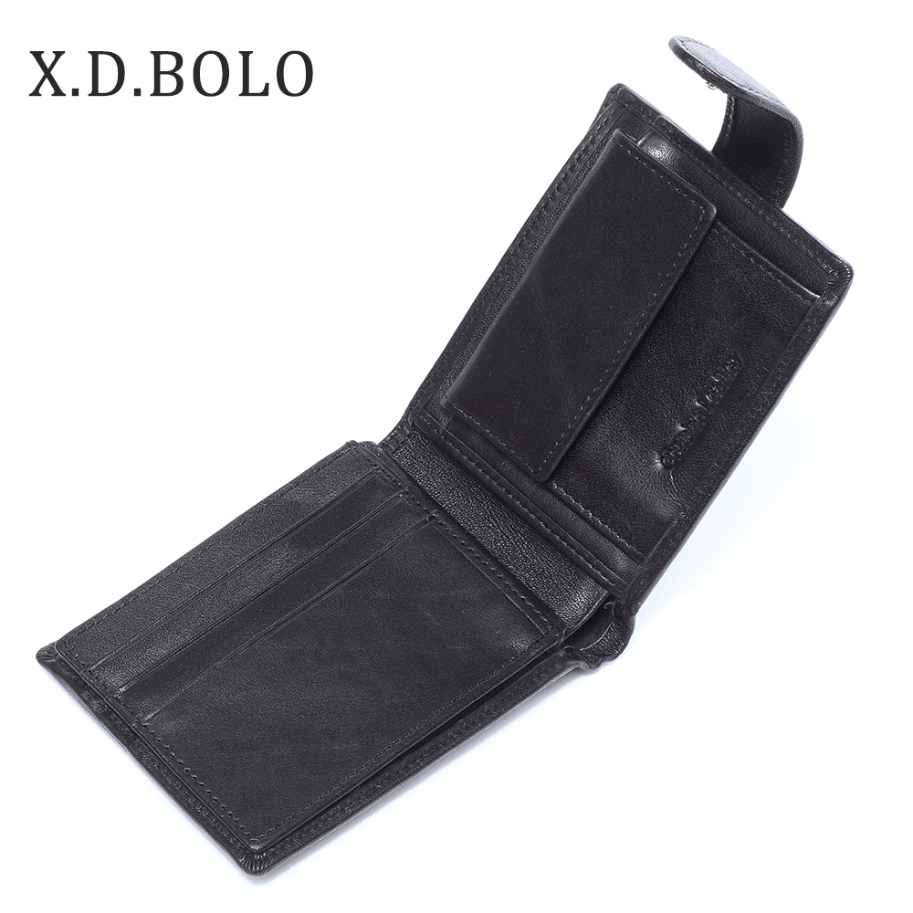 X.D.BOLO New Arrival Mens Wallet Classic Credit Card Holder Genuine Leather Short Wallet Male Men Wallets Purse With Coin Pocket 10pcs bolt hole tinned copper cable lugs battery terminals set wire terminals connector 70mm2 2 0awg sc70 10 sc70 12
